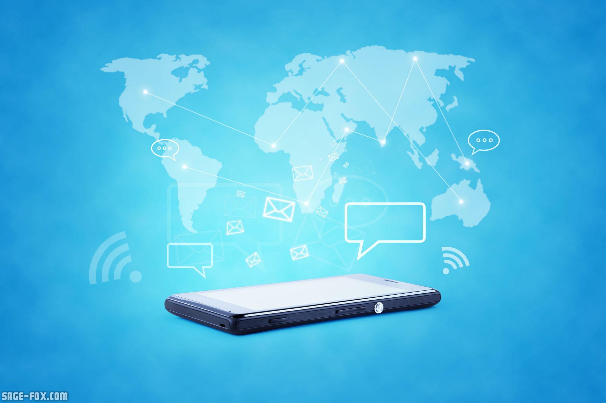 Modern communication technology illustration with mobile ...