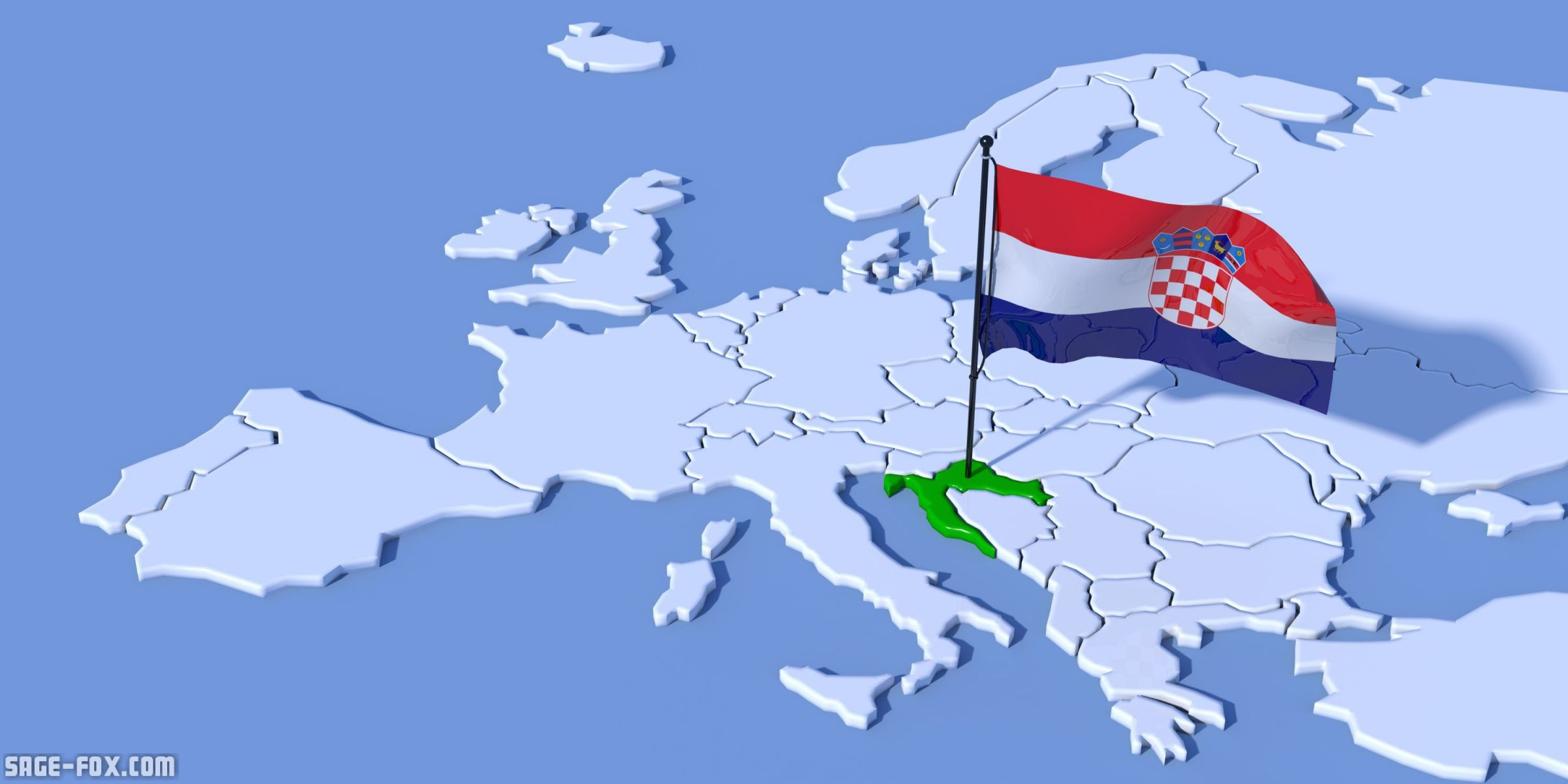 Picture of: Europe 3d Map With Flag Croatia 66932389 Original Sagefox Powerpoint Images