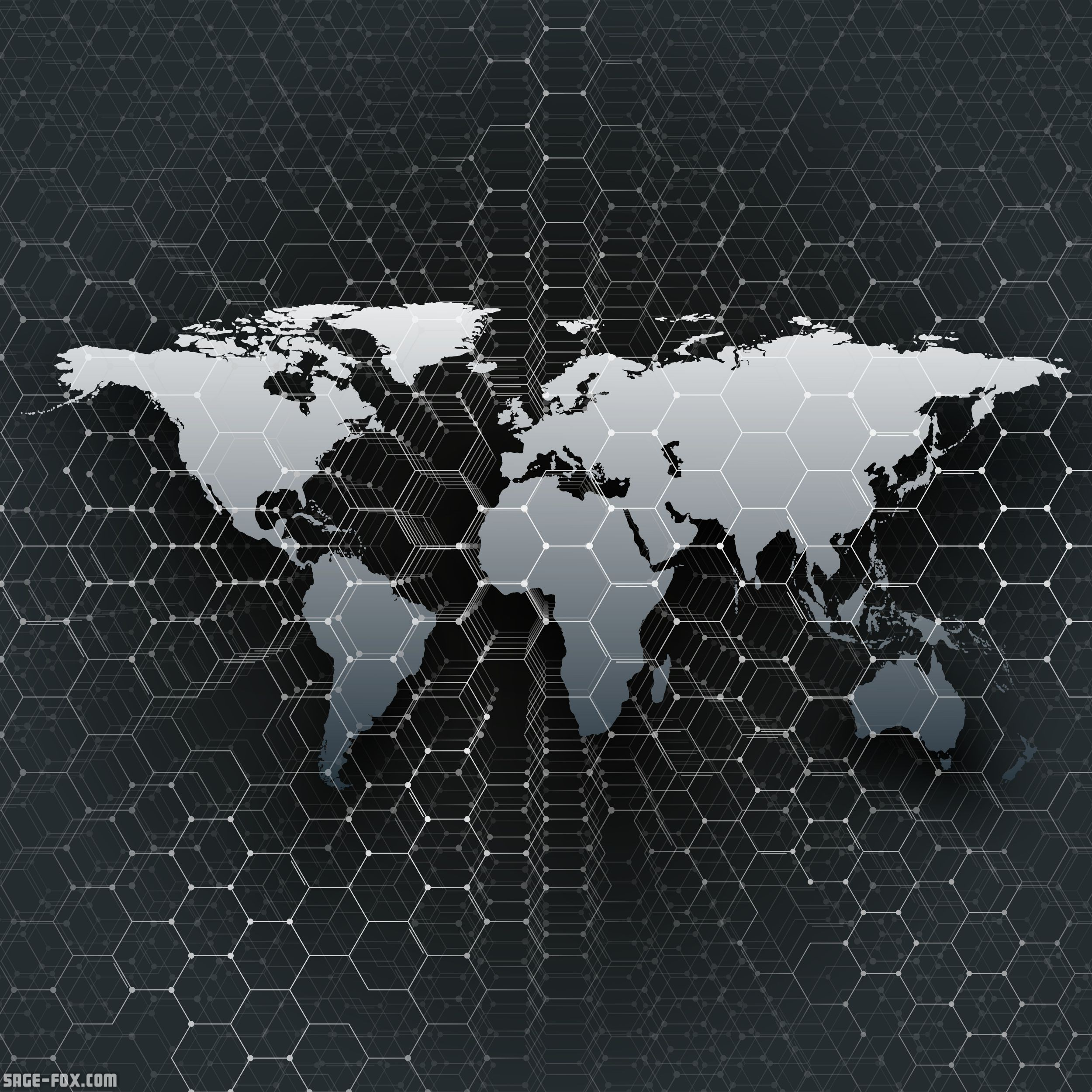 Gray World Map Connecting Lines And Dots On Black Color Background